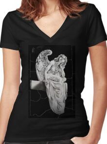 Daydreaming angel Women's Fitted V-Neck T-Shirt