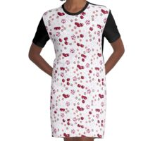 Cherry lollipops, candy and chewing gum seamless pattern background texture Graphic T-Shirt Dress