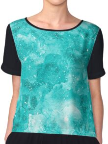 Turquoise watercolor texture Chiffon Top