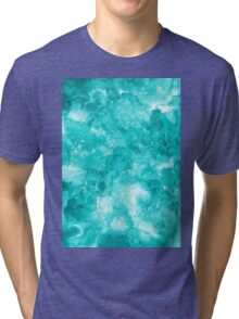 Turquoise watercolor texture Tri-blend T-Shirt
