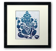 Blue Watercolor Ganesha Design Framed Print