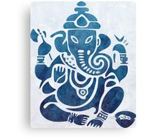 Blue Watercolor Ganesha Design Canvas Print