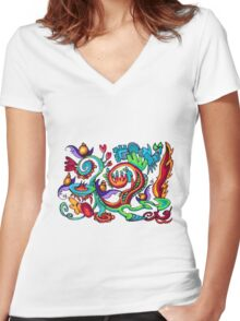 Snazzy Snail Rollercoaster Women's Fitted V-Neck T-Shirt