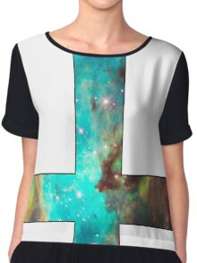 Green Galaxy Inverted Cross White Chiffon Top