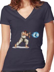 Hadouken! 8-bit Ryu. Women's Fitted V-Neck T-Shirt