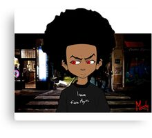 Afro Kid At Midnight Street - Moody. Canvas Print