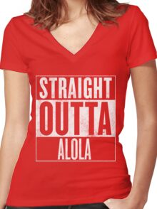 Straight Outta Alola Women's Fitted V-Neck T-Shirt