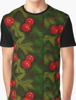 Hawthorn Berries in Oil Pastel, Red and Green, Christmas Graphic T-Shirt