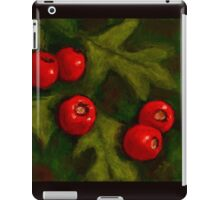 Hawthorn Berries in Oil Pastel, Red and Green, Christmas iPad Case/Skin