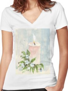 Light a candle Women's Fitted V-Neck T-Shirt