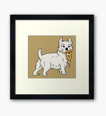 Westie Pizza Framed Print