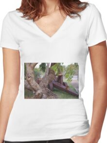 Old Equipment on Display Women's Fitted V-Neck T-Shirt