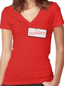 Cinna's name tag Women's Fitted V-Neck T-Shirt