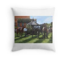 Across the Parade Ring, July Course, Newmarket Throw Pillow
