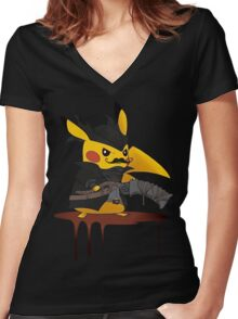 BloodBorne: Special Pikachu Edition Women's Fitted V-Neck T-Shirt