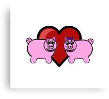 Piggy Love Canvas Print