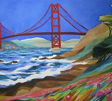 Watercolor of the Golden Gate Bridge by sara kahn