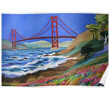 Watercolor of the Golden Gate Bridge Poster