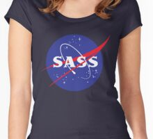 SASS - sassy, feminist, girl geek, nerdy, female scientist gift, nasa gift, astronaut gift, space, cosmos, galaxy Women's Fitted Scoop T-Shirt