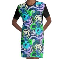 Retro Psychedelic Hippie Neon Colors Graphic T-Shirt Dress