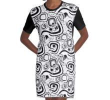 Funky Retro Black and White Graphic Pattern Graphic T-Shirt Dress