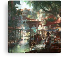The outstanding Floating Market in Mekong Delta Canvas Print
