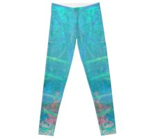 Butterfly Turquoise Blue Abstract Modern Art Leggings