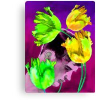 Man Young with Tulips Canvas Print