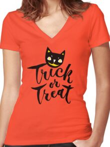 Trick or Treat - Hand Lettering Design Women's Fitted V-Neck T-Shirt