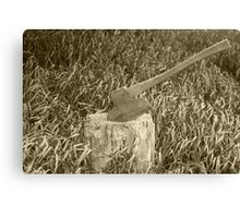 Antique Broad Ax in a Stump of Wood Canvas Print