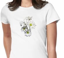 Cascade of White Daisies Womens Fitted T-Shirt
