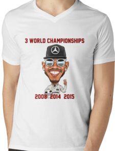 Lewis Hamilton 3rd World Championship 2015 Mens V-Neck T-Shirt