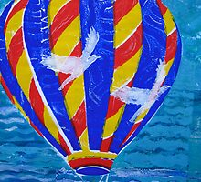 Hot Air Balloon with White  Birds 2 by Heather Holland by Heatherian