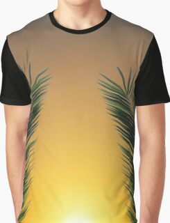 Palm Leaf Sunset Graphic T-Shirt