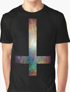 Rainbow Galaxy Inverted Cross Graphic T-Shirt