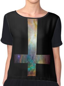 Rainbow Galaxy Inverted Cross Chiffon Top