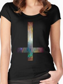 Rainbow Galaxy Inverted Cross Women's Fitted Scoop T-Shirt