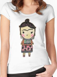 Watercolor Frida Kahlo Pattern Women's Fitted Scoop T-Shirt