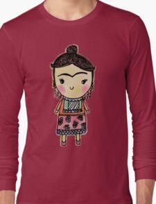 Watercolor Frida Kahlo Pattern Long Sleeve T-Shirt