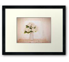 Hi key picture of white flowers Framed Print