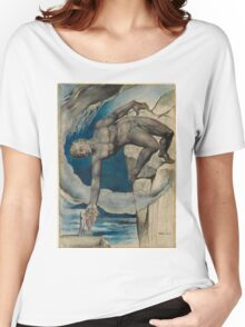 William Blake - Antaeus Setting Down Dante And Virgil In The Last Circle Of Hell. Man portrait: strong man, Antaeus ,  Setting,  Dante ,  Virgil,  Last Circle ,  Hell, smile, manly, sexy men, macho Women's Relaxed Fit T-Shirt