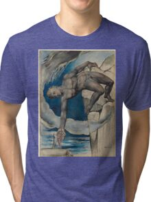 William Blake - Antaeus Setting Down Dante And Virgil In The Last Circle Of Hell. Man portrait: strong man, Antaeus ,  Setting,  Dante ,  Virgil,  Last Circle ,  Hell, smile, manly, sexy men, macho Tri-blend T-Shirt