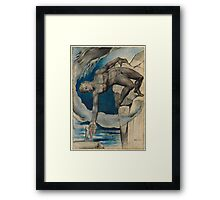 William Blake - Antaeus Setting Down Dante And Virgil In The Last Circle Of Hell. Man portrait: strong man, Antaeus ,  Setting,  Dante ,  Virgil,  Last Circle ,  Hell, smile, manly, sexy men, macho Framed Print