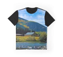 Barn on the River in the Mountains Graphic T-Shirt