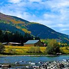 Barn on the River in the Mountains by AspenWillow