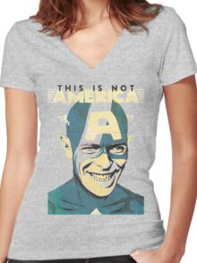 This Is Not America Women's Fitted V-Neck T-Shirt