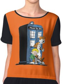 calvin and hobbes police box in action Chiffon Top