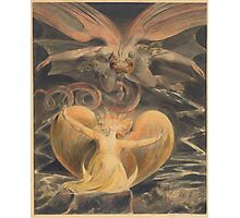 William Blake - The Great Red Dragon And The Woman Clothed With The Sun 1805. Myth:  Great,  Red Dragon , Dragon ,  Sea, Beast,  biblical,  bible,  horrific,  horror, woman, wings Photographic Print