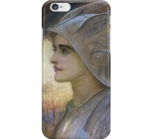 William Blake -  St Joan Of Arc. Woman portrait: sensual woman, helmet, warrior, face, femine, beautiful dress, cute, tree,  life, forest, beauty iPhone Case/Skin