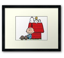 snoopy with charlie and woodstock Framed Print